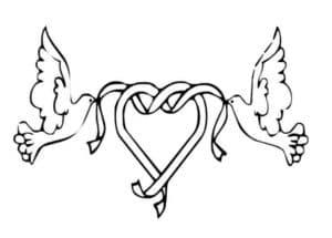 голуби с сердцем шаблон