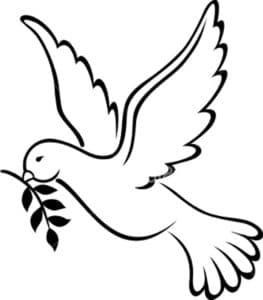 летящий голубь с веточкой