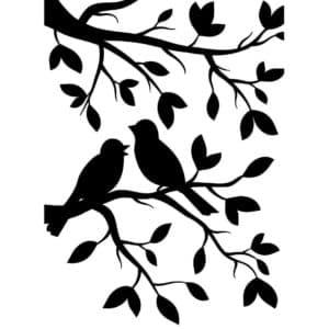 трафарет птички на дереве