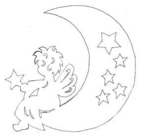 ангел на луна трафарет на окно