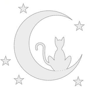 кот на луне трафарет