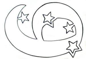 9 и звезды трафарет