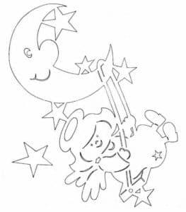 луна и ангел трафарет