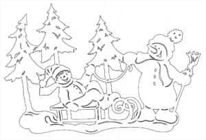 трафарет снеговики