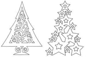 трафарет елок для нового года