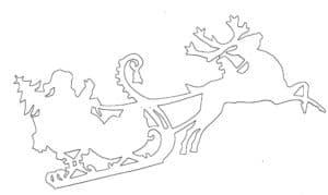 дед мороз на оленях трафарет