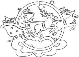 дед мороз и летающие олени трафарет