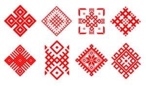 красные орнаменты