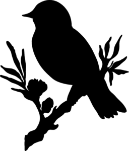 птичка на ветке для вырезания