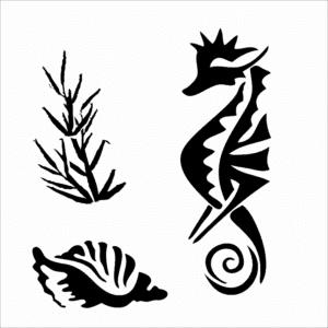 трафарет морской конек