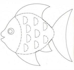 раскраска трафарет рыбка
