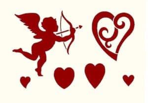 трафарет ангел и сердце