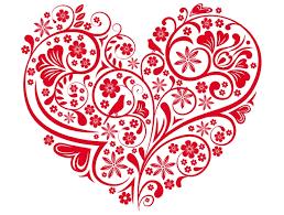 сердце с узорами трафарет