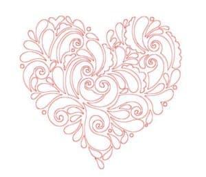 розовое сердце с узорами