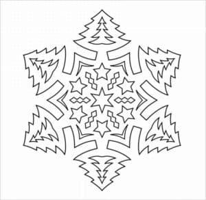 снежинка с елками трафарет