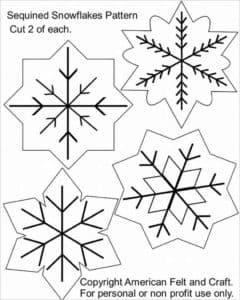 трафарет снежинок разной формы