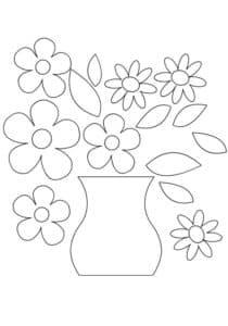 ваза с цветами трафарет