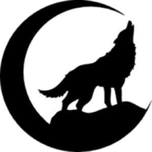 волк и луна трафарет