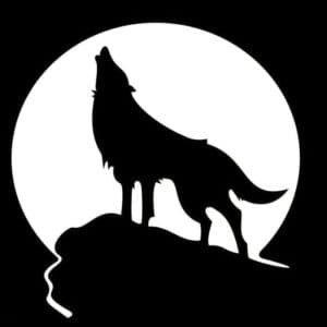 волк и луна трафарет для вырезания