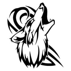 волк в узорах трафарет