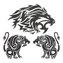 львы трафарет