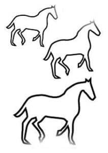 лошади трафарет