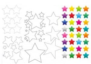 звезды разноцветные трафарет
