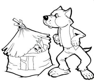 волк дует на домик