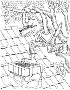 волк на крыше домика