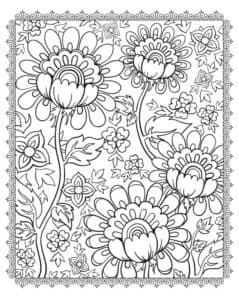 цветы с узорами раскраска