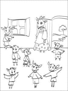семеро козлят раскраска для детей