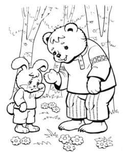 Медведь и заяц раскраска