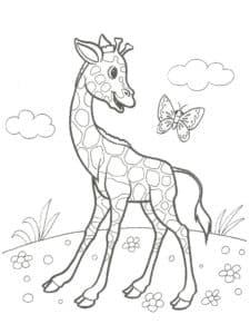 Жираф и бабочка