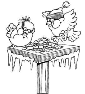 птички в шапках кушают