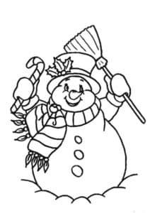 снеговик с метлой и конфетой