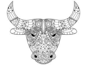 голова быка раскраска антистресс