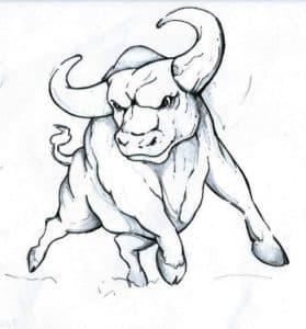 раскраска детская бык