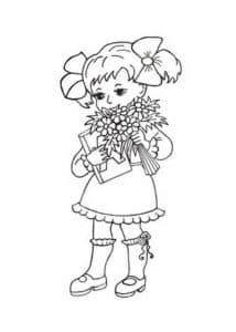 девочка с бантиком раскраска