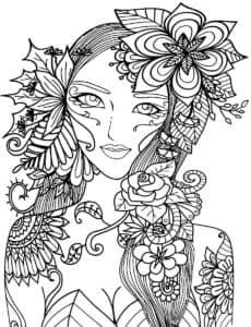 лицо девушки в цветах антистресс