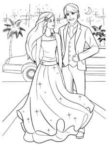 барби в платье с звездочками и кен