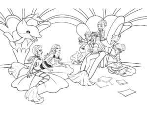 барби русалка на троне