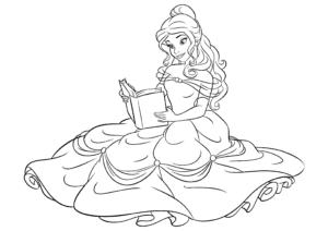 Принцесса с кникой раскраска