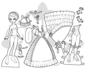 Бумажная кукла с платьями и аксессуарами