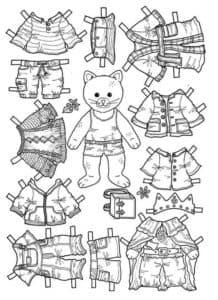 Бумажный котенок с одеждой