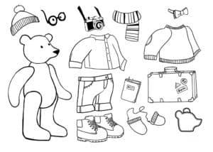 Одень бумажного медвежонка