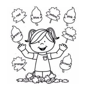 девочка и листья раскраска цвета на английском