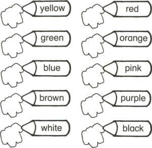 раскраска карандаши цвета на английском