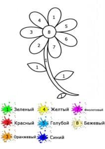 цветок раскраска по номерам