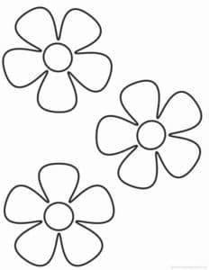 три цветочка раскраска