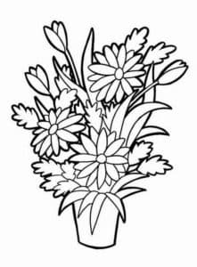 цветы в вазе детская раскраска